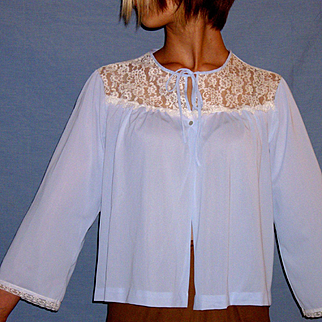 Vintage Miss Elaine Lacey Blue Bed jacket Size Medium / Large