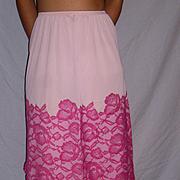 1950 Vintage Vanity Fair Half Slip Pink  with Rose lace size Medium