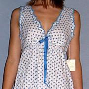 Vintage 1960 Barbizon Seraphim Batiste Blue & white Baby Doll Nighty set NEW NWT NOS Size Small