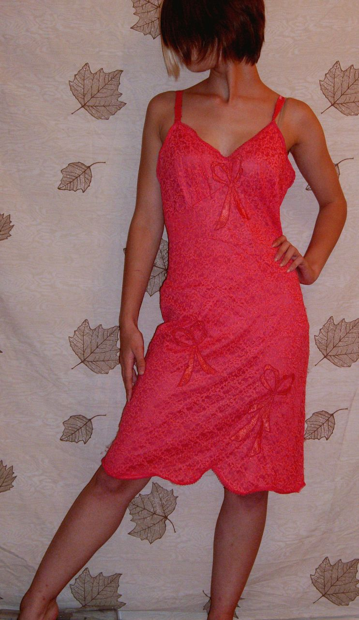 Vintage 1950 Movie Star All Lace Hot Pink Full Slip Size -7833