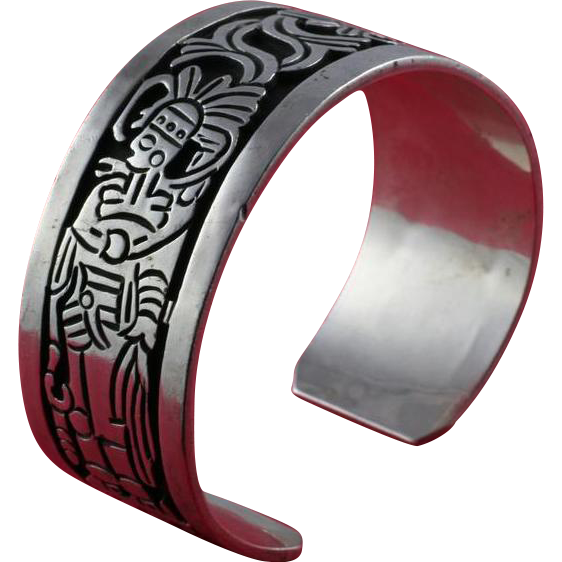Vintage Los Ballesteros Cuff Bracelet with Pre-Colombian Style Niello on Sterling Silver from Taxco Mexico
