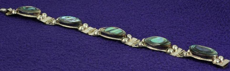 Eagle 2 Vintage Mexico Sterling Silver and Abalone Bracelet Hallmarked LLA