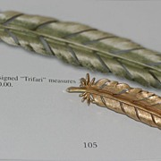 Vintage 1960's Crown Trifari Feather Brooch Pin~Book Piece