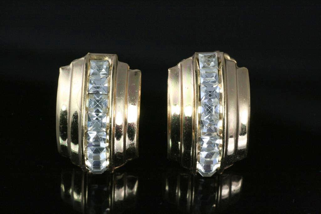 Vintage Sparkling Coro Rhinestone Earrings ~ Clear Channel Set
