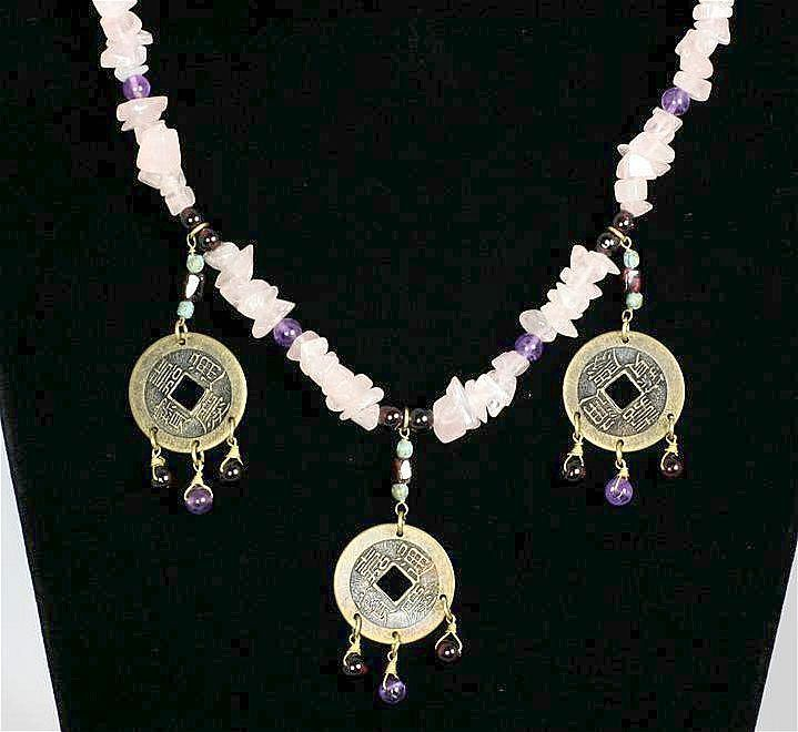 Vintage Hobé Feng Shui Asian Style Coin Pink Quartz with Amethyst and Garnet Necklace
