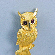 Vintage Owl With Red Rhinestone Eyes Brooch Pin~Signed BSK