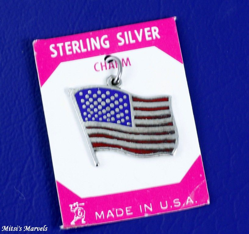 Vintage Large Sterling Silver and Enamel US Flag Charm
