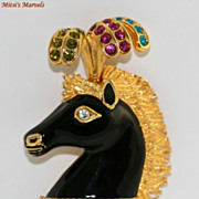 Beautiful Circus Horse Head Brooch Pin by Bijoux Cascio