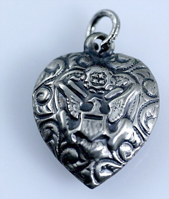 Vintage Patriotic Repousse Sterling Silver Puffy Heart Charm with US Army Eagle and Scrollwork