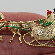 Vintage Christmas Horse and Sleigh Brooch Pin Signed Gerry's
