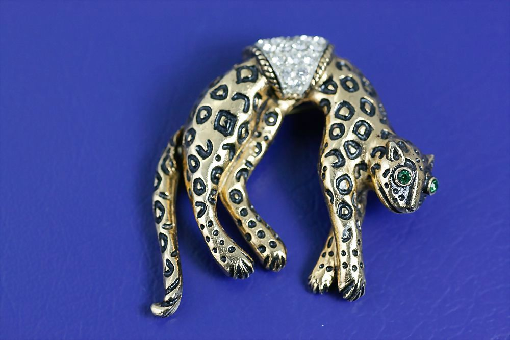Vintage 1950's Florenza Leopard Brooch Pin with Rhinestones and Articulated Tail