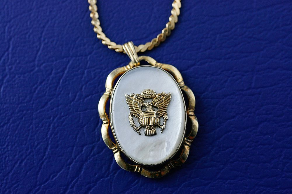 WW2 Era US Army Eagle Military Sweetheart Gold Filled Mother of Pearl Locket Pendant and Chain Necklace