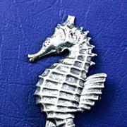 Vintage Sterling Silver Seahorse Brooch