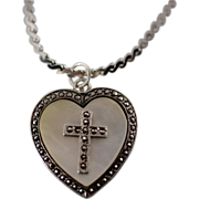 Sterling Heart Locket Pendant with Mother of Pearl and Marcasite Religious Cross and Chain Necklace