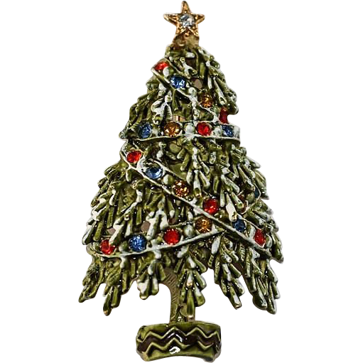 Christmas tree brooch pin with multicolored from rubylane sold on ruby