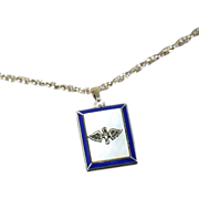 WW2 Era Blue Enamel, Mother of Pearl, and Sterling Silver Army Air Corps Locket Pendant and Chain Necklace