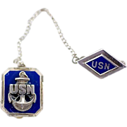 Vintage WW2 Sterling Silver and Enamel USN Chain Pins US Navy Anchor