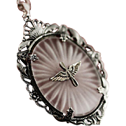 Vintage WW2 Army Air Corp Sterling Silver and Camphor Glass Pendant Neclace