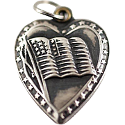 Vintage Sterling Silver Puffy Heart Charm with US Flag