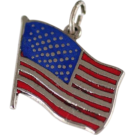 Vintage Large Sterling Silver and Red and Blue Enamel US Flag Charm