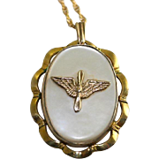 WW2 Era US Army Air Corps Military Sweetheart Gold Filled Mother of Pearl Locket Pendant and Chain Necklace