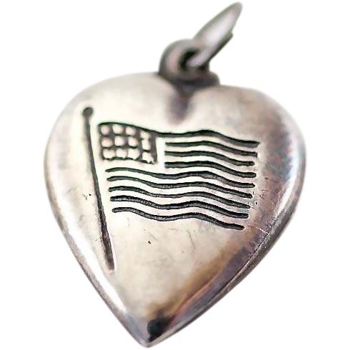 Patriotic Vintage Sterling Silver Puffy Heart Charm with US Flag Old Glory
