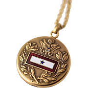 Vintage WWII Gold Filled Son In Service Enamel Military Sweetheart Locket Necklace
