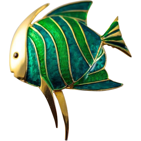 Vintage Enameled Boucher Angel Fish Brooch Pin