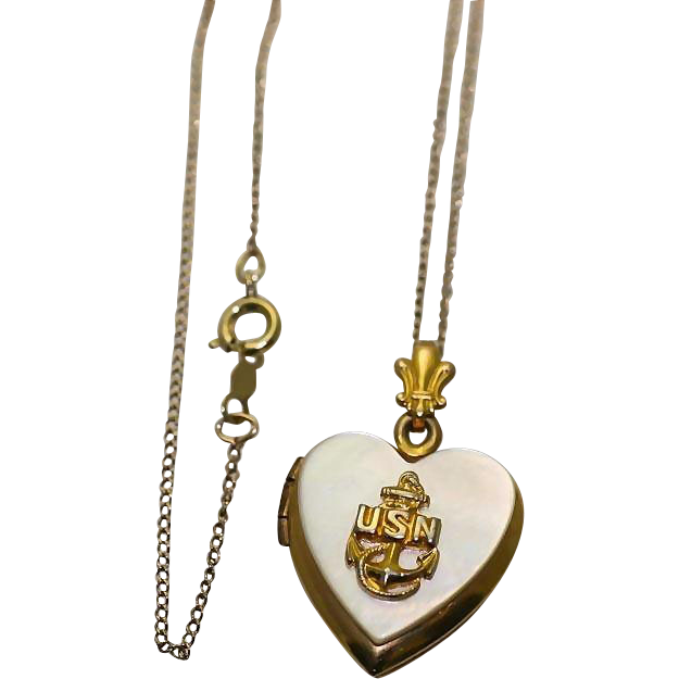 WW 2 Era Sweetheart USN US Navy Anchor Insignia Gold Filled Mother of Pearl Heart Shaped Locket Pendant Necklace