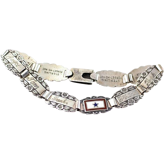 Vintage 1940's World War 2 Era Sterling Silver Forget Me Not with Son In Service Link Sweetheart Bracelet~Longer Length