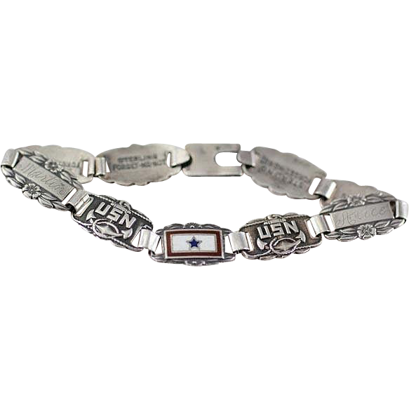 Vintage 1940's World War 2 Era Sterling Silver Forget Me Not Sweetheart Bracelet with USN and  Son In Service Links