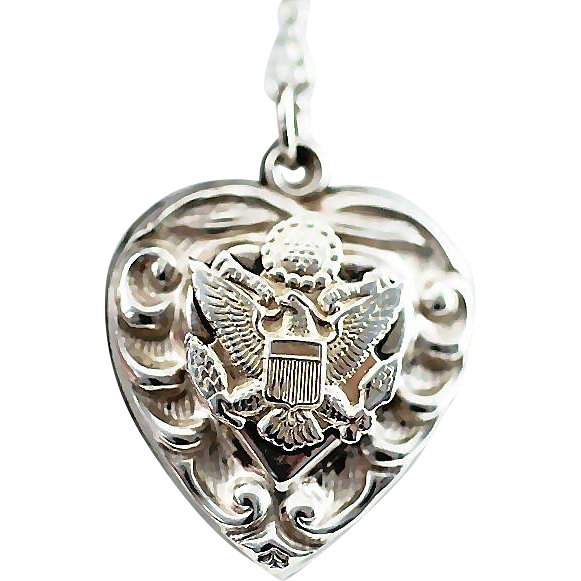 WW2 Era Sterling Silver Scrolled Repousse Puffy Heart Charm with US Army Eagle/Great Seal of the US Necklace