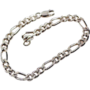 Vintage Longer 8 Inches Sterling Silver Figaro Link Bracelet Sturdy