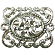 Vintage Scrolled Repousse  Art Nouveau Style Sterling Silver Brooch