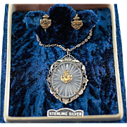 Vintage WW2 Sterling Silver Art Camphor Glass Pendant Necklace and Earrings with US Navy USN Anchor Insignia ~ Art Deco Design