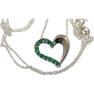 Vintage Sterling Silver and Green Rhinestone Heart Shaped Pendant Necklace