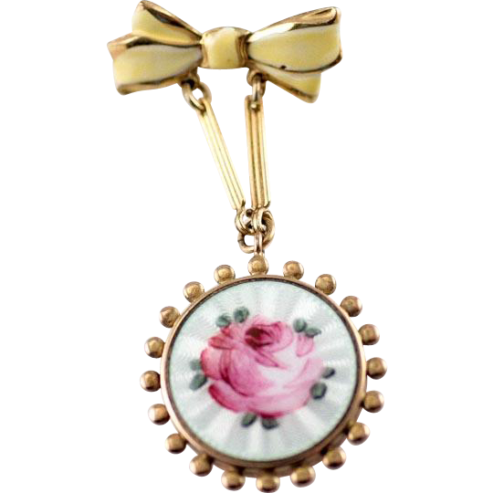 1940's WW2 Enamel Sweetheart Locket with Rose Motif and Yellow Bow Chatelaine Photo  Pin