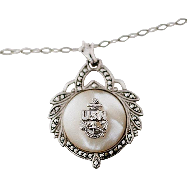 Vintage Sterling Silver US Navy Insignia Mother of Pearl and Marcasites Pendant Necklace