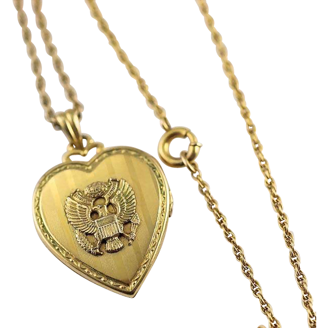 Vintage Gold Filled Walter E. Hayward Army Eagle Insignia Heart Locket