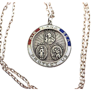 Protect Us ---Vintage WW2 Sterling Silver and Enamel Military Catholic Medal Pendant ~ Patriotic/Religious