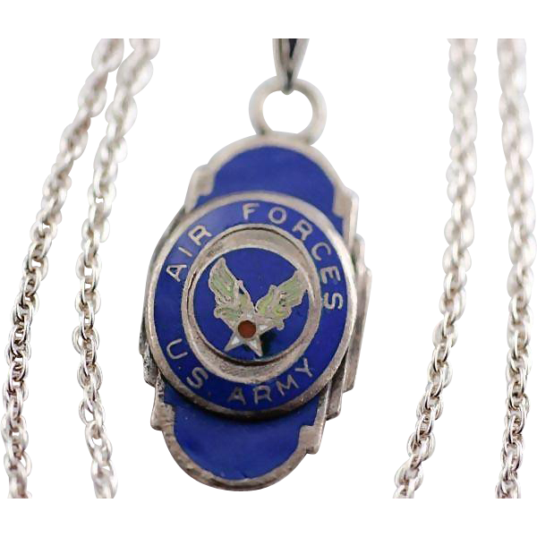 Vintage US Army Air Forces Pendant on Sterling Rope Chain Necklace