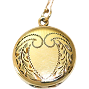 Vintage Round Gold Filled Locket Necklace