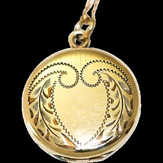 Vintage Round Gold Filled Locket Necklace
