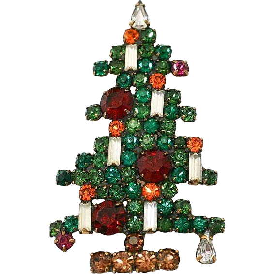 Vintage Large Weiss 6 Candle Christmas Tree Brooch~ Book Piece