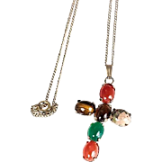 Gold Filled Cross Pendant Necklace with Multicolored Stones