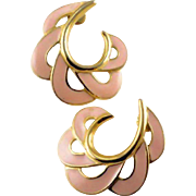 Trifari Pastel Pink Enamel and Gold Tone Earrings