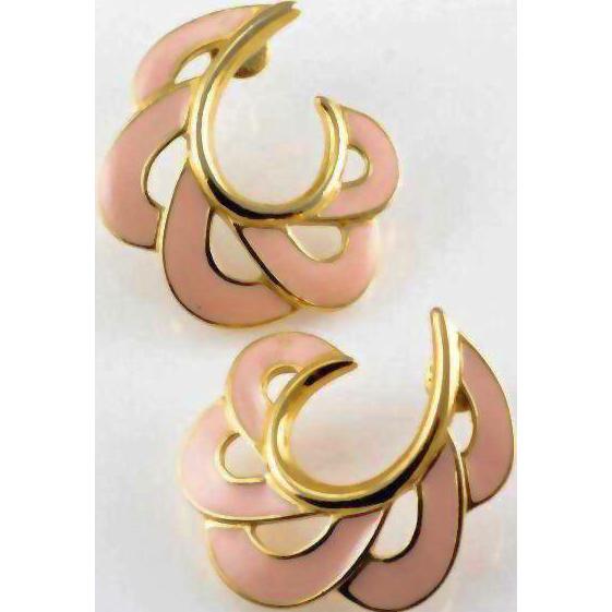 Trifari Pastel Pink Enamel and Gold Tone Earrings