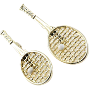 Signed Gerry's Pair of Gold Tone Tennis Rackets with Ball Brooch Pins