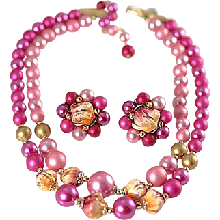 Vintage Signed Japan Faux Pink Pearl Double Strand Necklace with Matching Earrings Demi Parure