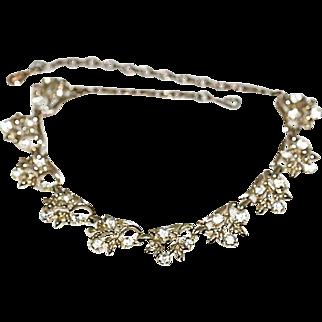 Vintage Coro Aurora Borealis Coated Clear Rhinestone Floral Choker Necklace